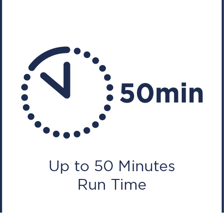 Up to 50 minutes run time
