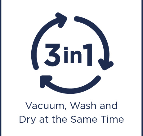 Vacuum, wash and dry at the same time