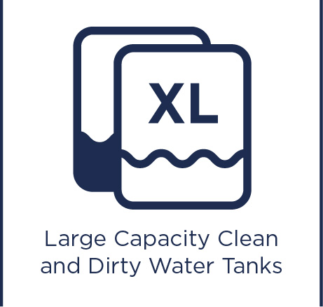 Large capacity clean and dirty water tanks