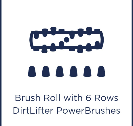 Brush roll with 6 rows DirtLifter Power Brushes