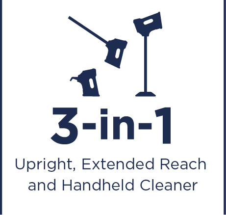 Upright, extended reach and handheld cleaner