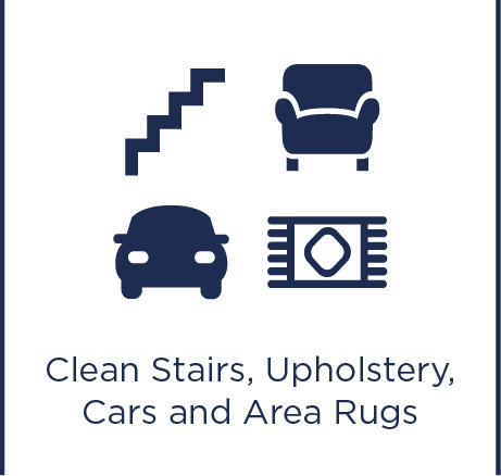 Cleans stairs upholstery, cars and area rugs