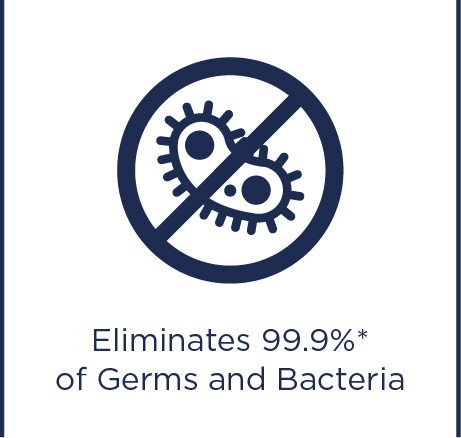 Eliminates 99.9% of germs and bacteria