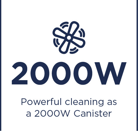 Powerful cleaning as a 2000W canister